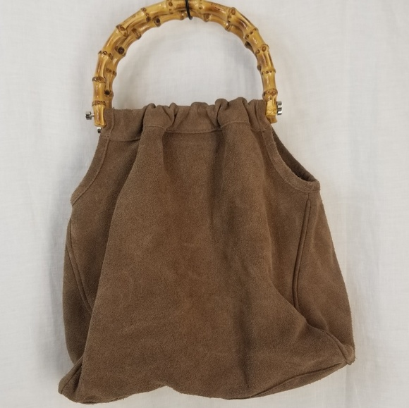 Talbots Handbags - Suede Leather Slouchy-Hobo, Bamboo Handle Bag